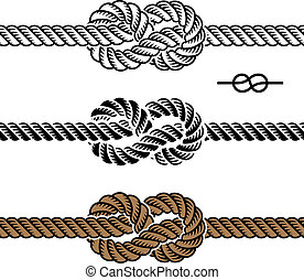 corda, símbolos, vetorial, pretas, nó