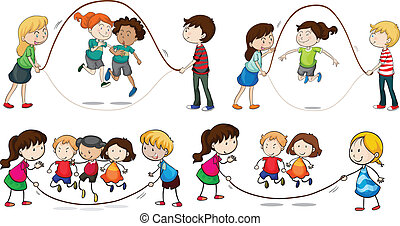corda, saltando, bambini giocando