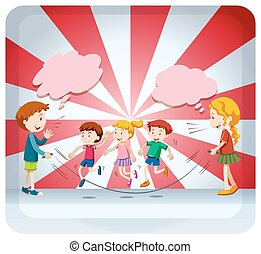 corda, saltare, bambini, insieme