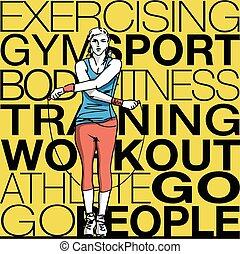 corda, salto, treinamento, mulher, ilustração