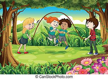 corda, selva, tocando, crianças