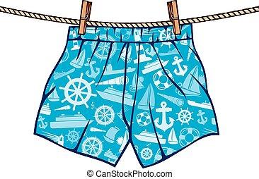 corda, shorts, pugilista, penduradas