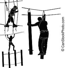 corda, silhuetas, jogo, parque