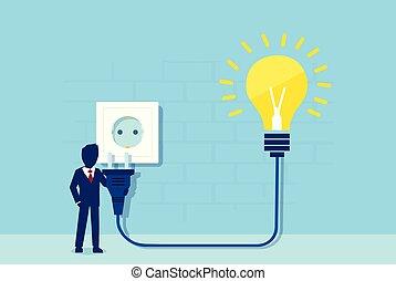 corda, socket., potere, luce, idea, tamponamento, luminoso, vettore, elettrico, bulbo, uomo affari