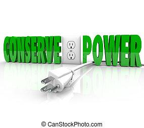 corda, spina, potere, conservazione energia, elettrico, risparmiare, conservare