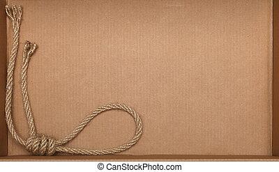 corda, su, cartone, struttura, fondo