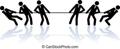 corda, tirare, persone affari