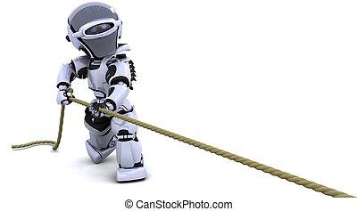 corda, tirare, robot