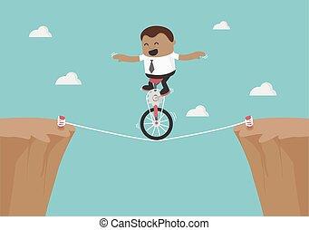corda, uomo affari, equilibratura, giovane, africano