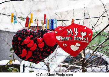 corda,  valentines, Dia, almofadas, penduradas, corações, macio