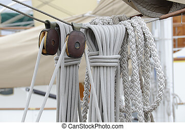 cordage and pulleys on the old sailing boat