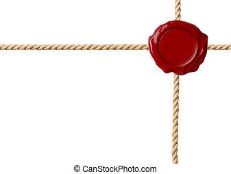 cordas, cera, isolado, cruzado, selo, vermelho