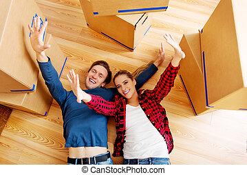 cordboard, 床, 恋人, 箱, 新しい 家, 幸せ, のらくらする