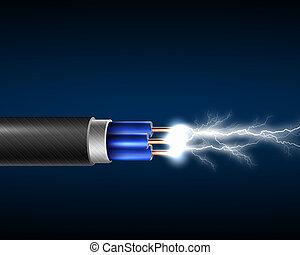 corde, électricité, électrique, sparkls