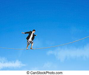 corde, équilibrage, ciel, homme
