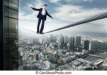 corde, équilibrage, homme affaires