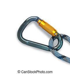 corde, équipement, carabiner, -, escalade