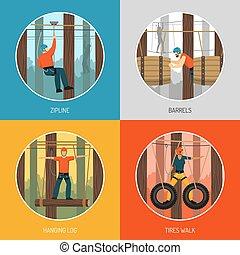 corde, activités, concept, parc, promenade