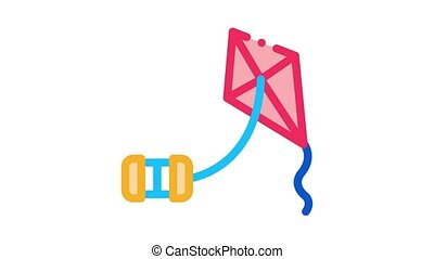 corde, animation, cerf volant, tonnelet, icône