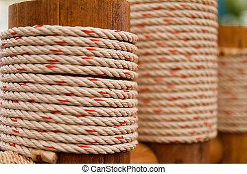 corde, attaché, pole.