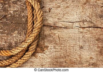 corde, bateau, bois, fond, a mûri
