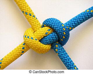 corde, bleu, noeud, jaune