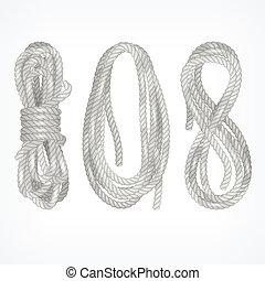 corde, bobines, blanc
