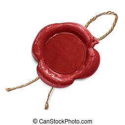 corde, cachet, isolé, rouges, cire