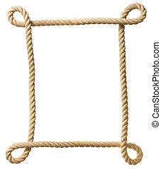 corde, cadre, blanc, isolé