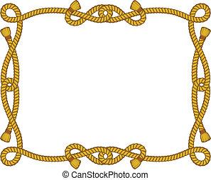 corde, cadre, isolé, blanc