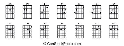 corde, chitarra, icona, set.