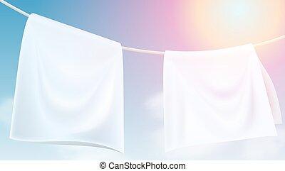 corde, clair, séché, pendre, blanc dehors, vêtements