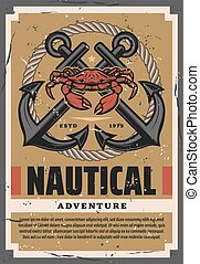 corde, crabe, marin, ancres, aventures, traversé