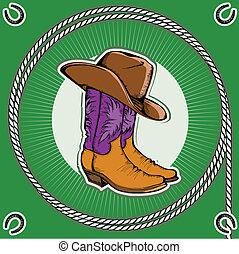 corde, décor, fond, cow-boy, boots., cadre, vendange, occidental