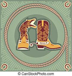 corde, décor, fond, cow-boy, boots., vendange, occidental, fer cheval