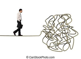 corde, difficulté, problème, concept, enchevêtré