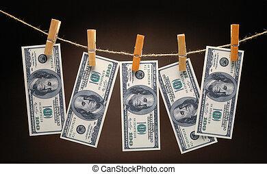 corde, dollars, pinces, pendre