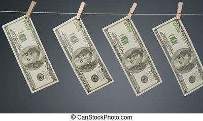 corde, dollars, tir, clothesline, pendre