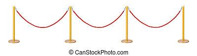 corde, doré, velours, barrière