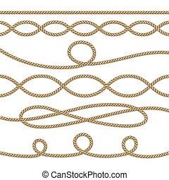 corde, elemento, set., illustrazione, vettore, decorazione, nautico