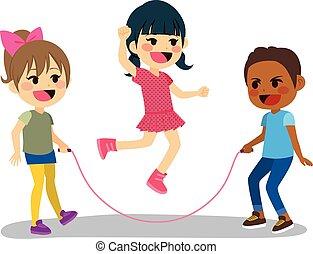 corde, enfants jouer
