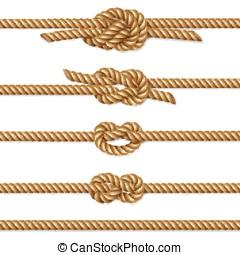corde, ensemble, frontière, tordu, jaune