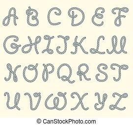 corde, ensemble, lettres, latin, police