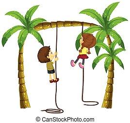 corde, escalade, gosses, arbre