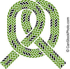corde, escalade, symbole, vecteur, noeud