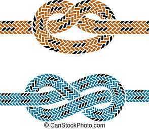 corde, escalade, vecteur, noeud, symboles