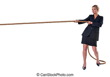 corde, femme affaires, traction, blonds