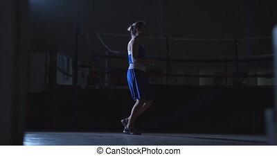 corde, femme, boxe, sauter, salle