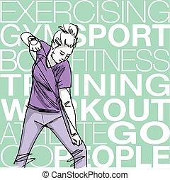 corde, femme, exercisme, illustration, résistance
