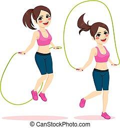 corde, femme, sport